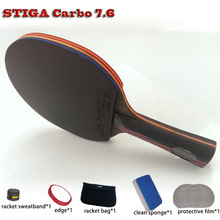 STIGA Table tennis racket pat set Red Black Carbon 7.6,rubber 05/64+Blue sponge Hurricane 3,ping pong paddle Free Drop Shipping(China (Mainland))