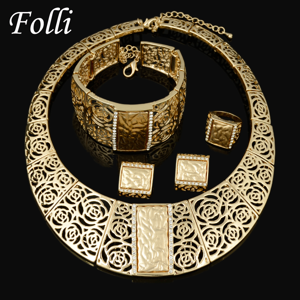2015 Miss Folli  Jewelry Sets Charming Dubai  Gold Plated Trendy   Classic Rose Designs Costume Jewelry Set For Fashion Women<br><br>Aliexpress