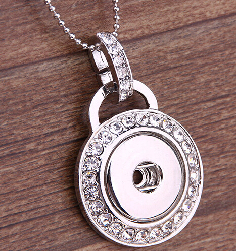 Retail 1pcs free shipping 2015 Fashion DIY Snaps Jewelry Silver Crystal Round Snaps Button Pendant Necklace