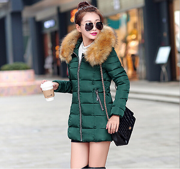 1PC 8 Colors Fashion Women Clothes Winter Coat Raccoon Fur Collar Warm Coats Long Outerwear Thicken Parkas Jacket Z0795
