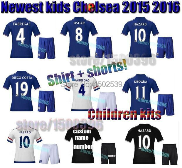 Add tyres Children chandal Chelsea jersey 2016 set, Chelsea kids jerseys white blue black equipment 15 16 youth soccer kits(China (Mainland))
