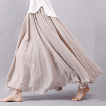 2016 Fashion Brand Women Linen Cotton Long Skirts Elastic Waist Pleated Maxi Skirts Beach Boho Vintage Summer Skirts Faldas Saia(China (Mainland))