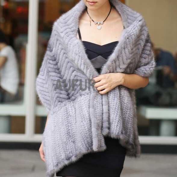 Big Real Mink Fur Shawl Knitted Scarf Elegant Women Casual Wrap Knitted Real Fur Cape Handmade AU00062(China (Mainland))
