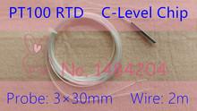4X PT100 Probe 3mm*30mm RTD probe 2m-wire Platinum Resistance sensor 4 piece -40~250 Degree with High Temperature Wire(China (Mainland))