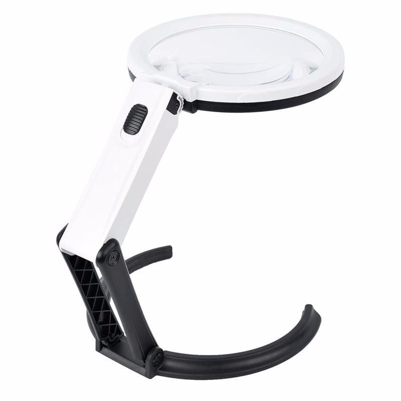 Beileshi 110V-240V Table Magnifier LED Lighted Magnifying Glass Lamp Magnifying 1.8X 5X Desktop Magnifier with External Charger