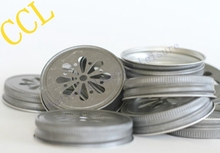8 Daisy Cut Mason Jar Lids , mason jars and straws are NOT included ,Metal Jar Lids for Straws(China (Mainland))