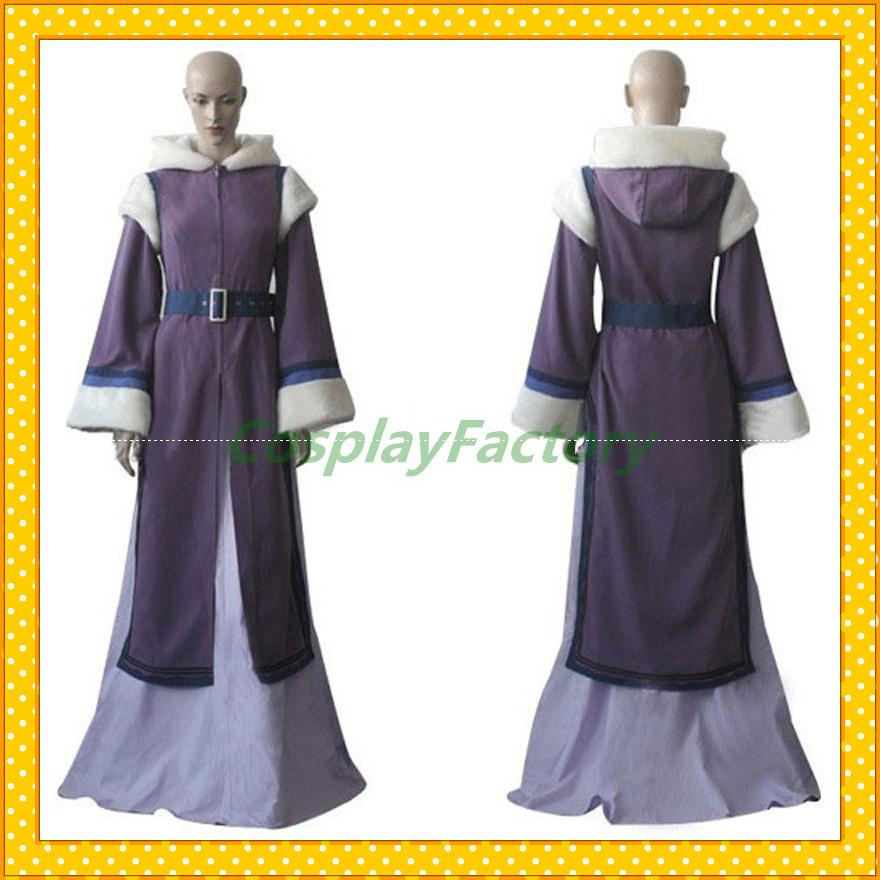 Free Shipping Fast Custom Made Avatar Cosplay Princess Winter Hoody Con Dress Costume Clothing(China (Mainland))