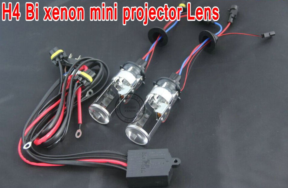 Free shipping 2015 newest product H4 HID Bi xenon H4 H/L mini projector lens for car headlight with high and low control line(China (Mainland))