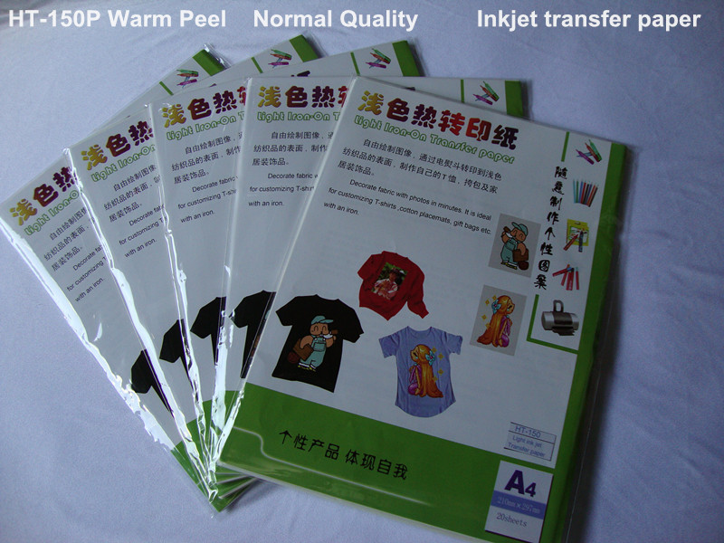 Inkjet Thermal Paper Transfer A4 Size Paper 50sheets/lot Light Transfer Paper For t shirts Heat Transfers Papier HT-150P(China (Mainland))