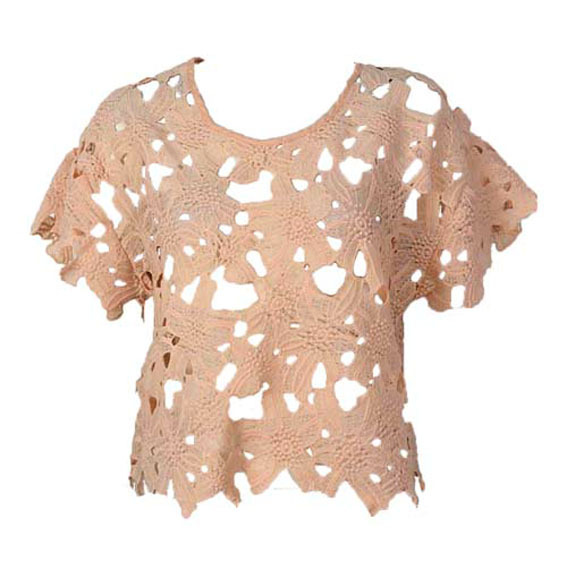 Loose Lace Hollow Summer new openwork crochet lace short t shirt round neck personality Blouse tops Tee - Fashion girl' store