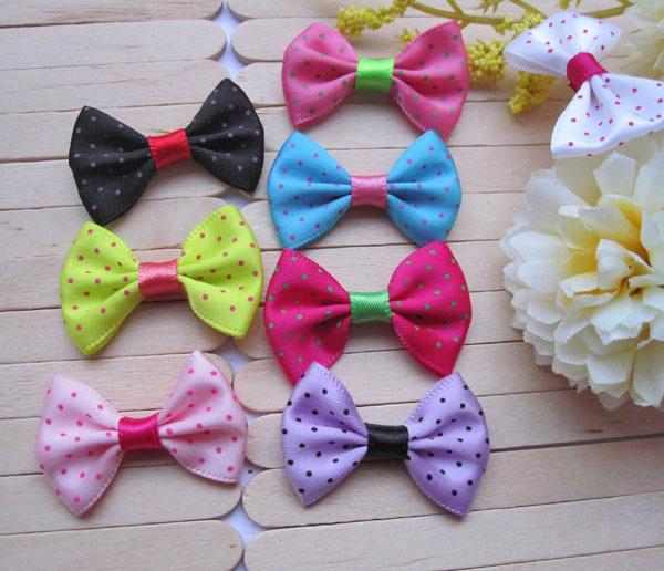 Fabric Bows / Satin Ribbon Bow Tie (100pcs/35mm*25mm/Polka Dot Mix) Hair Clip Packaging Embellishment Baby Shower Decor Sewing(China (Mainland))