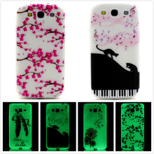 Luminous Glow in the Dark Shell Soft TPU Silicone Cases Cover Crystal Painted Case for Samsung Galaxy S3 S III 3 GT-i9300 i9300()