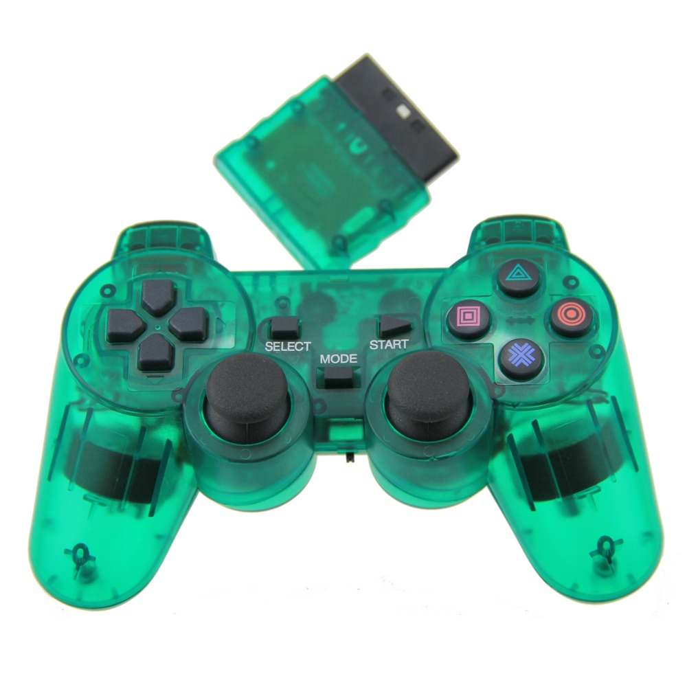 Clear Green For PS2 Game Controller Wireless Double Vibration Joystick For Playstation 2 Gamepad(China (Mainland))