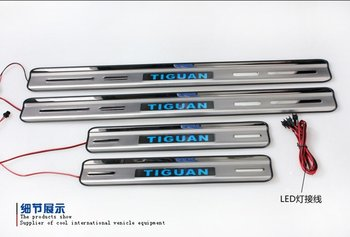 Free Shipping 2010-2012 Volkswagen Tiguan With Blue LED light High quality stainless steel Scuff Plate/Door Sill