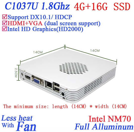 Promotional mini pc windows linux 4G RAM 16G SSD with Celeron 1037U dual core 1.8G HD Graphics DX10.1 HDCP support(China (Mainland))