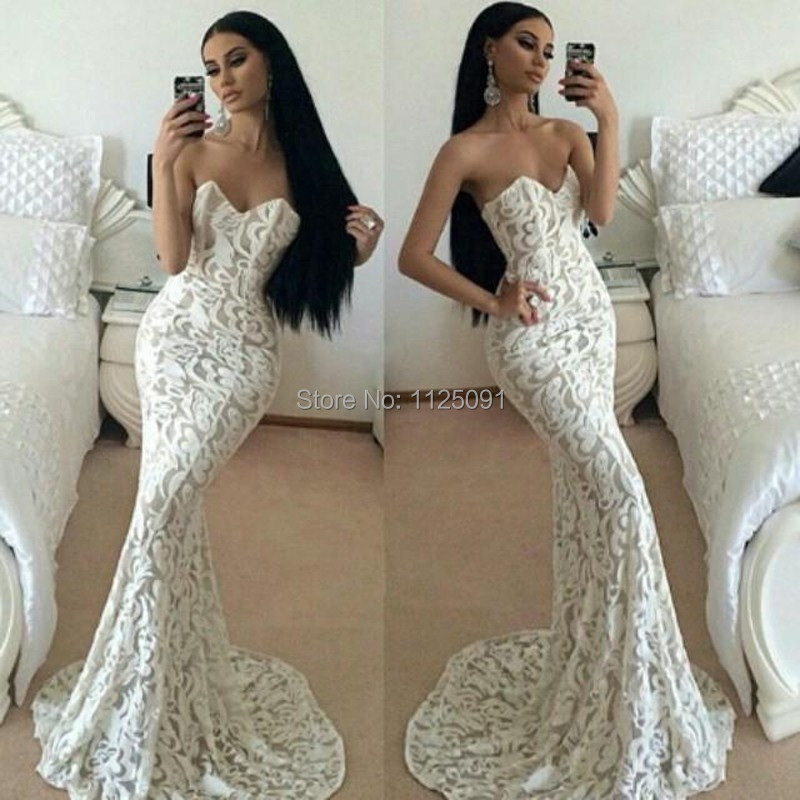 2015 elegant simple style mermaid lace evening dresses for Sexy wedding reception dresses