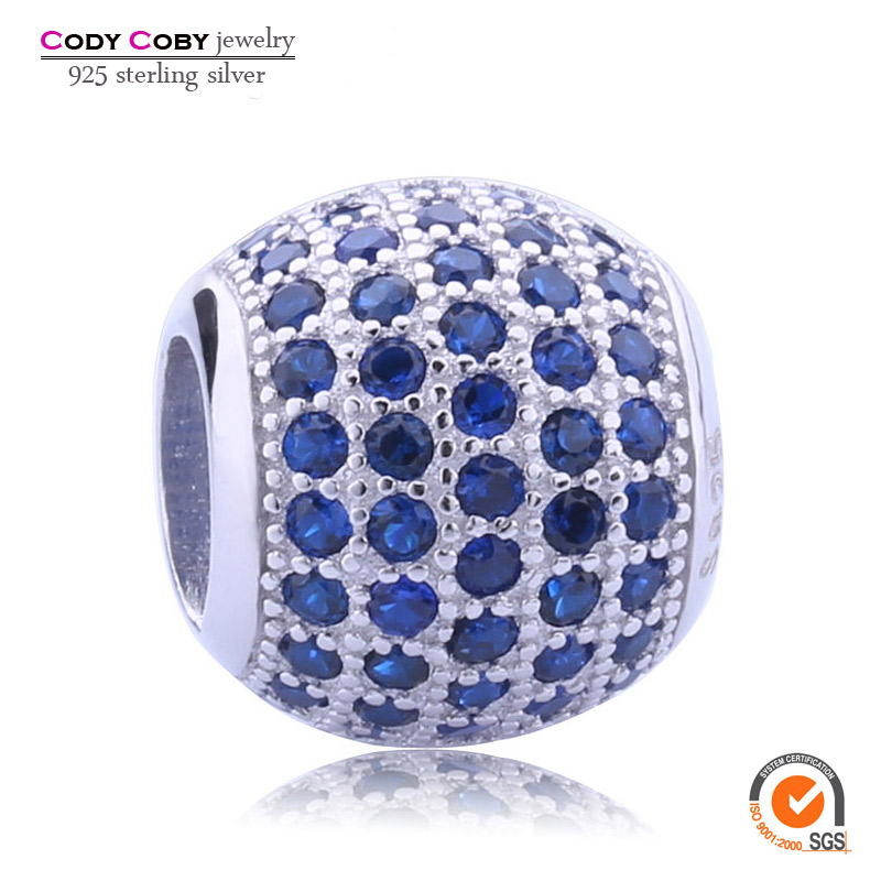 Mico Pave Blue CZ Birthstone Charm Beads Fit Pandora Bracelet Genuine 925 Sterling Silver Ball Charms Italian Jewelry Wholesale(China (Mainland))