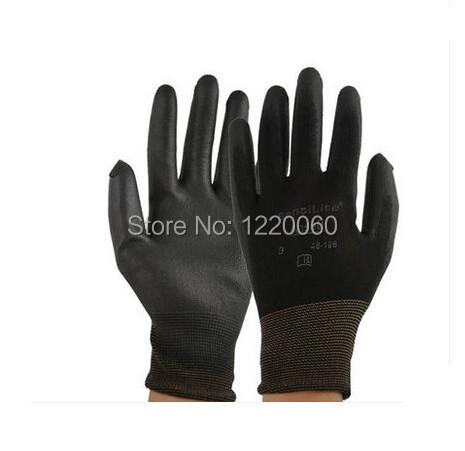 48 - 126 terylene PU coating work glove safety work hand glove(China (Mainland))