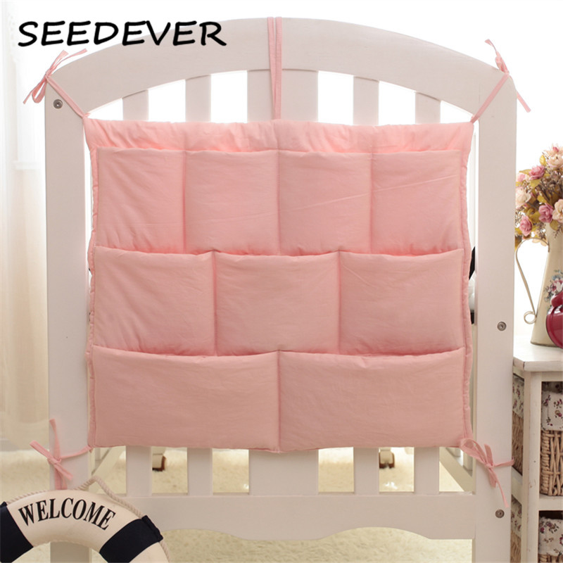 9 colors solid Baby Bed Hanging Storage Bag Cotton Newborn Crib Organizer Toy Diaper Pocket for Crib Bedding Set Accessories