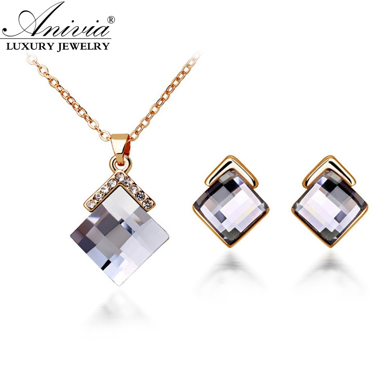 ANIVIA New 2016 Fashion gold plated crystal zircon Bridal jewelry sets,Women wedding Earrings Necklace set accessories Wholesale(China (Mainland))