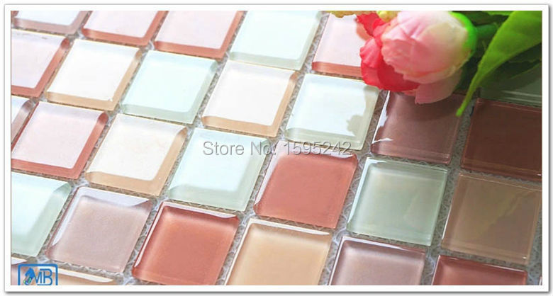 High Quality Red color Crystal glass toilet wall stick puzzle Swimming pool wall Mosaic tiles TV setting wall Mosaic floor(China (Mainland))