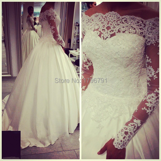 2016 New Vintage Wedding Dresses with Lace Long Sleeves Robe De Mariage 2016 New Bride Dresses Ball Gown Vestido De Noiva