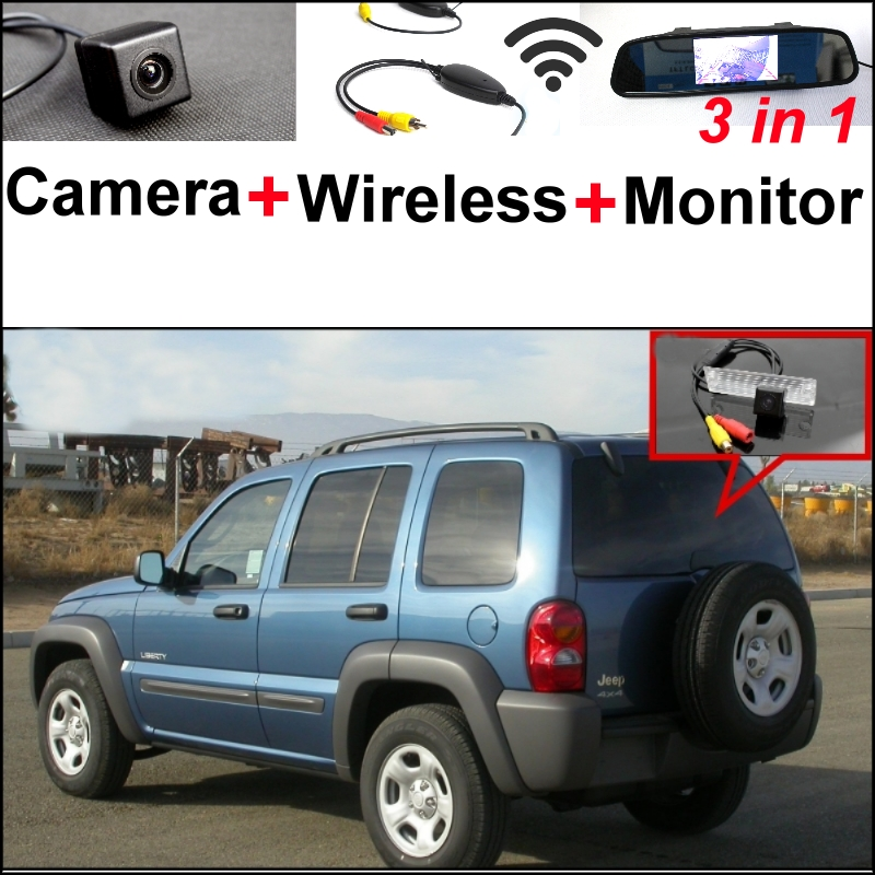 Wireless Receiver + Mirror Monitor EASY DIY BACKUP Parking System Jeep Liberty 2002~2007 3 in1 Special Rear View Camera - GrandTour Store store