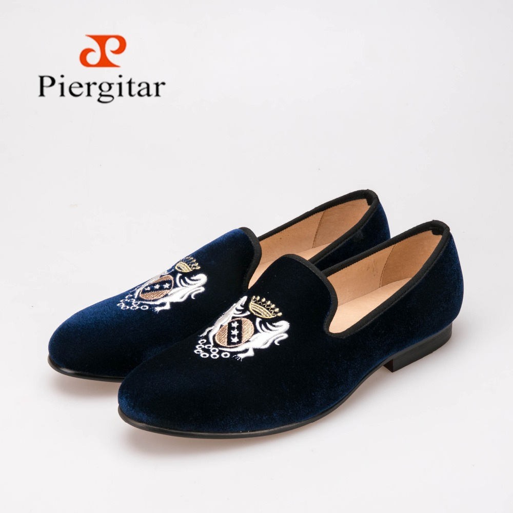 Men's shoes velvet loafers Smoking Slippers hand embroidered blue skull logo plus size US6-14 free shipping