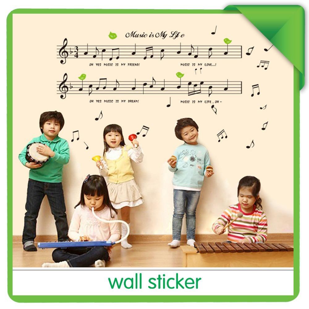 Staff notes music classroom nursery school piano instrument piano room bedroom children's room wall sticker(China (Mainland))