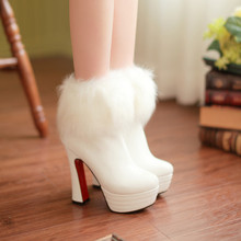 Sexy tacones altos plataforma media hasta la rodilla botas de piel de imitación de cuero de patente martin botas de nieve de tamaño grande 34-43 mujeres bombas(China (Mainland))