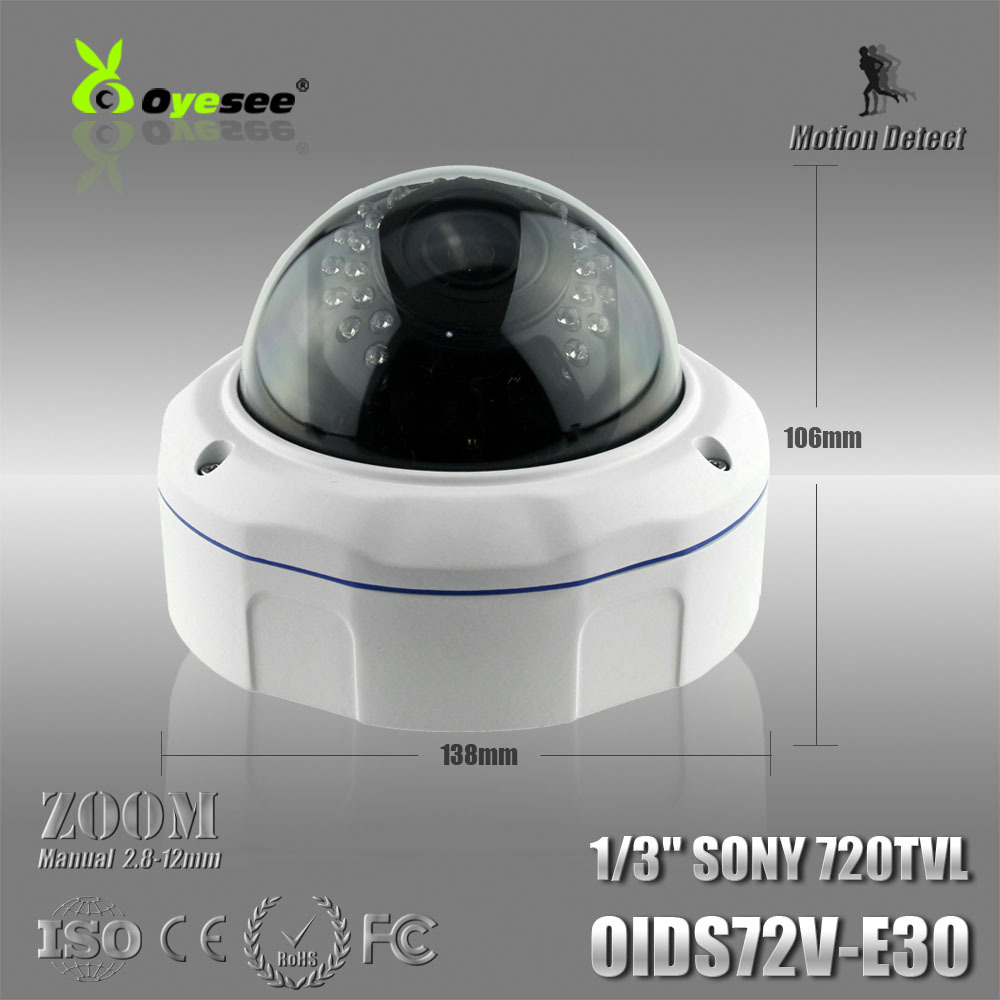"OIDS72V-E30 Vandalproof IR Dome Camera 720TVL Color 1/3"" CCD 2.8-12mm Manual Zoom Lens IR 25M gsm cctv camera(China (Mainland))"