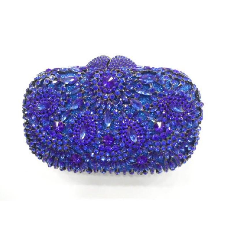 Фотография 8282-BLUE Crystal Floral Flower Wedding Bridal Party Night hollow Metal Evening purse clutch bag case handbag box