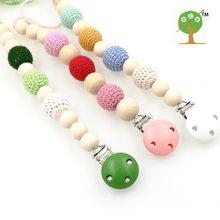 1 PC SALE 3 COLOR TO CHOOSE Natural Baby pacifier clip  Dummy holder Crochet beads Girl/Boy new mommy gift NT128(China (Mainland))