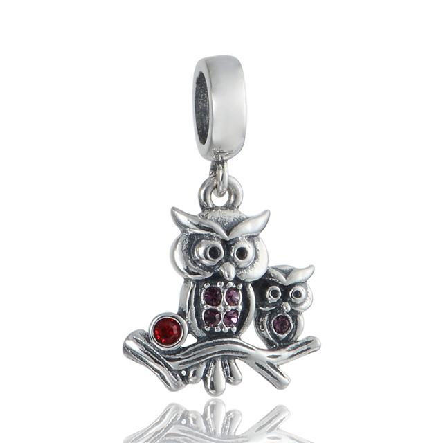925 - серебристо-ювелирные бусины S356 совы мать и ребенок CZ бусины Fit Chamilia пандора браслет серебро 925 ювелирных изделий DIY