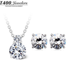 T400 CZ Rhinestone necklace/earrings 925 sterling silver party accessories jewelry sets for women #10569/8093 free shipping(China (Mainland))