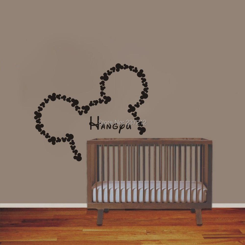 wall vinyl sticker decals art home decor design mural personalized custom baby name head mice ears