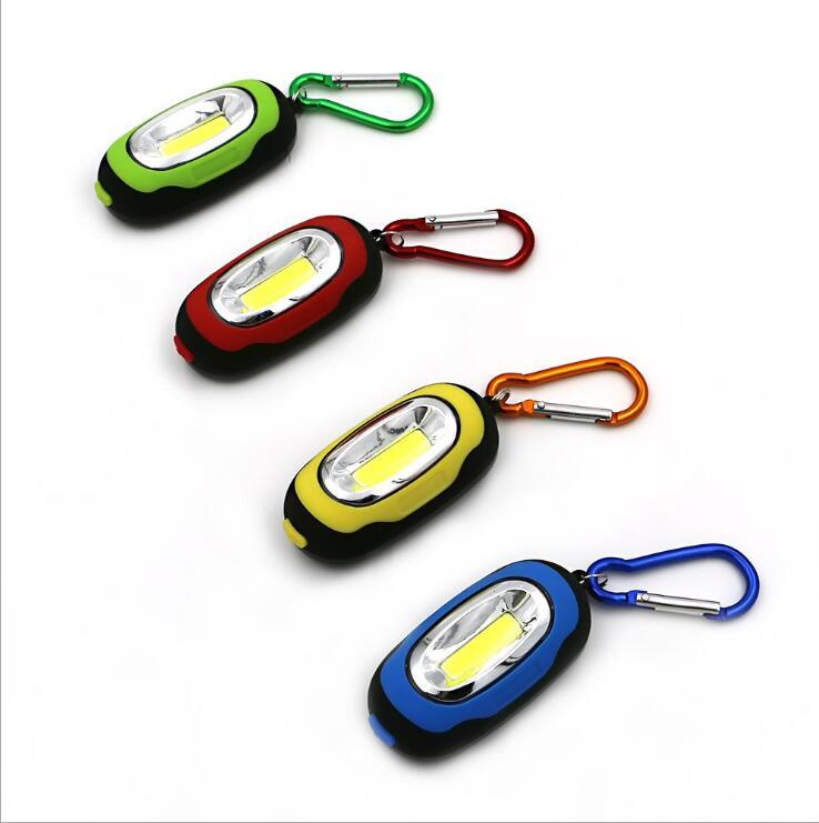 COB LED Flashlight Light 3-Mode Mini Lamp Key Chain Ring Keychain PVC Lamp Torch Keyring Green/Red/Yellow/Blue(China (Mainland))