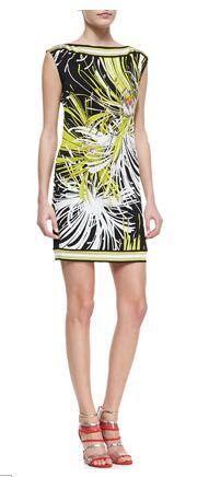 High quality New 2015 women ladies spring summer fashion dress printed Italian designer casual Silk Jersey Dress D3436