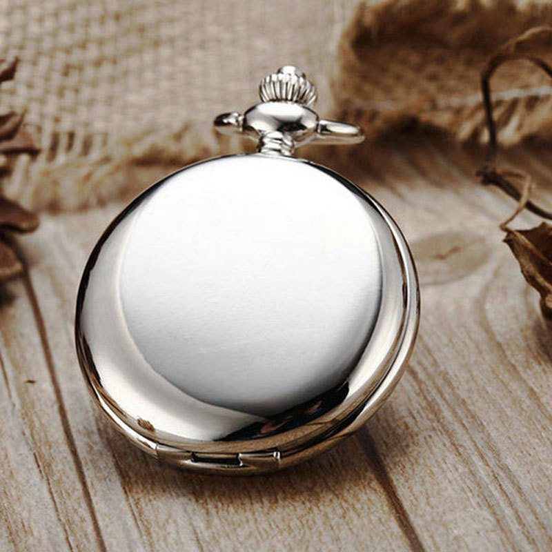 Steampunk Pocket Watch Silver Color Smooth pocket watch with gift box(China (Mainland))