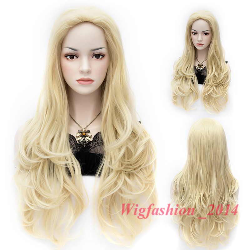 Free Shipping Sexy Women Hot Long Wavy Blonde Hair Party Wigs Synthetic <br><br>Aliexpress