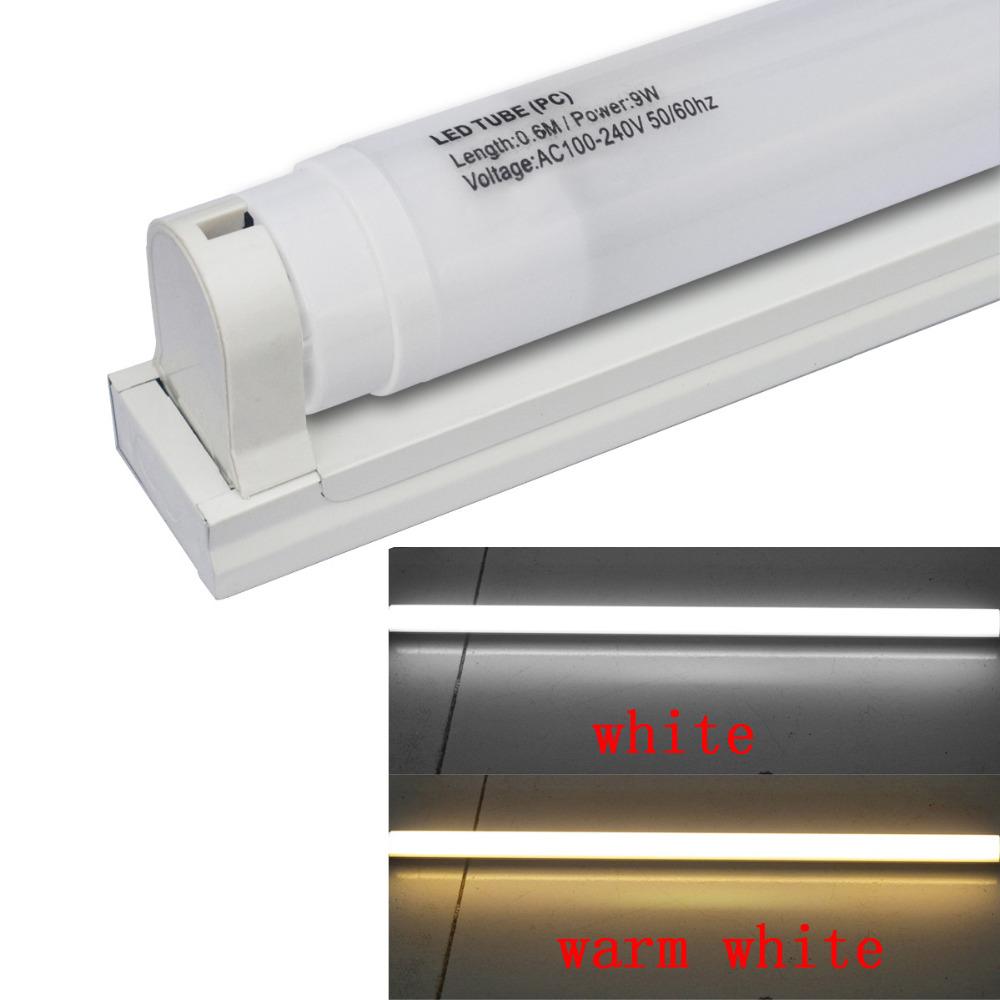 LED T8 Plastic Tube 600mm 9W 800lm White Milky Cover ,W / T8 tube fixture/support/bracket(AC110-240V,6pcs/lot)(China (Mainland))