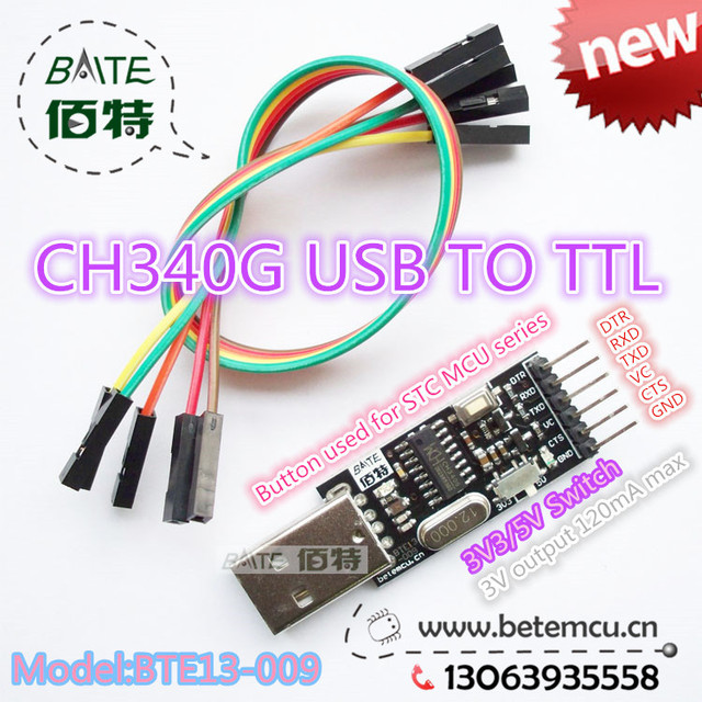 1PCS CH340G Serial Converter USB 2.0 To TTL 6PIN Module for PRO mini Instead of CP2104 CP2102 PL-2303HX support 5v/3.3v