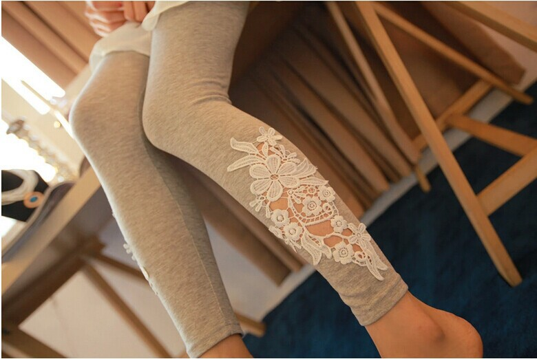 Hot Sales High Quality! New 2014 Fashion Women's Leggings Lady Casual Lace Applique Elastic Slim Thin Trousers&Leggings - Store1008 store