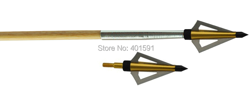 free shiping 36pcs 3 fixed blades arrowhead 100grain screw on off archery fiberglass arrows for compound