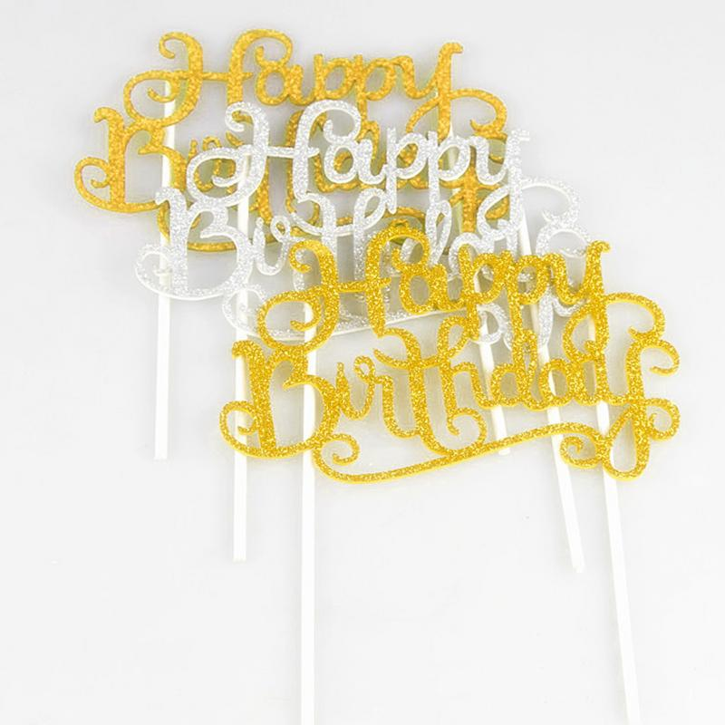 Wholesale 1PCS Happy Birthday Cake Topper Letter Picks Flag Decoration Kids Baby Shower Party Supplies