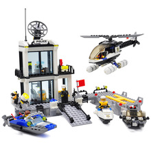Police Station Building Blocks Sets Model 536pcs Helicopter Speedboat Educational DIY Bricks Toys For Children(China (Mainland))