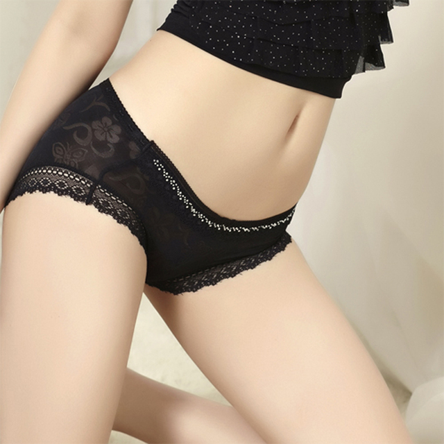 Low-waist sexy lace panty diamond jacquard viscose spring and summer women's panties