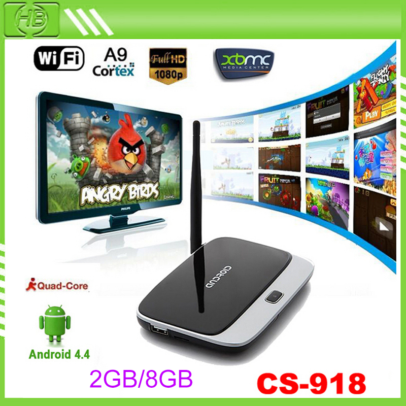 CS918 2GB 8GB Quad Core Android 4.4.2 Smart TV Box XBMC HDMI Media Player Support Hot Spot Miracast watch online video channels(China (Mainland))