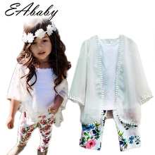 2015 Summer style New Fashion Icon Girls outfits Chiffon coat Vest Floral Pants clothing sets all