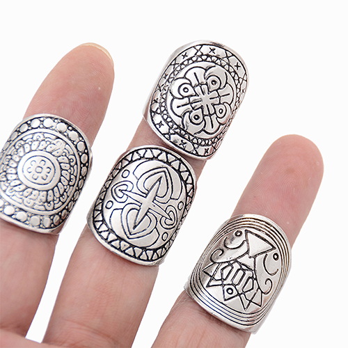 Hot! New Bohemian Vintage Carved Totem Ethnic Silver Plated Midi Rings Set 4Pcs AFOX(China (Mainland))